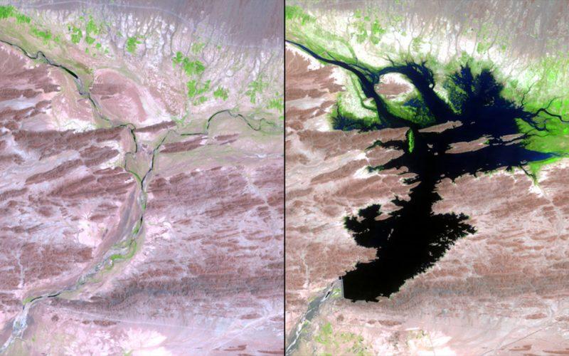 Il fiume Dasht-e Lut prima e dopo la costruzione della diga Mirani