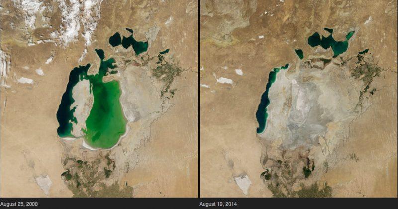 Lago d'Aral in Asia Centrale