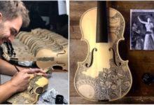 Photo of Leonardo Frigo, giovane artista italiano, dipinge l'Inferno di Dante sui violini