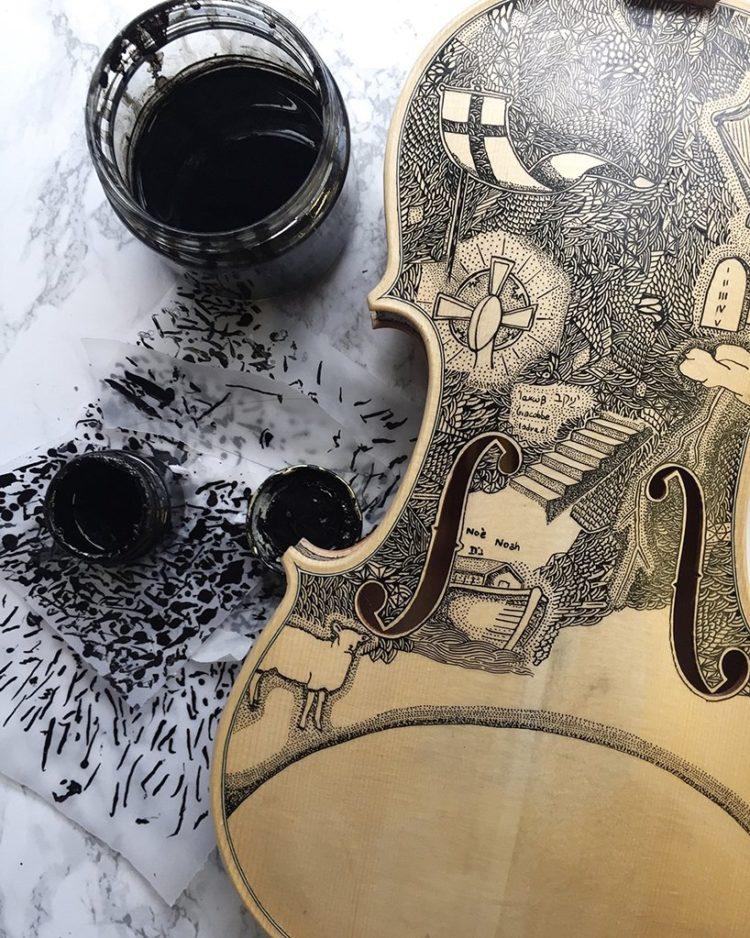 Riccardo Frigo dipinge l'Inferno di Dante sui violini