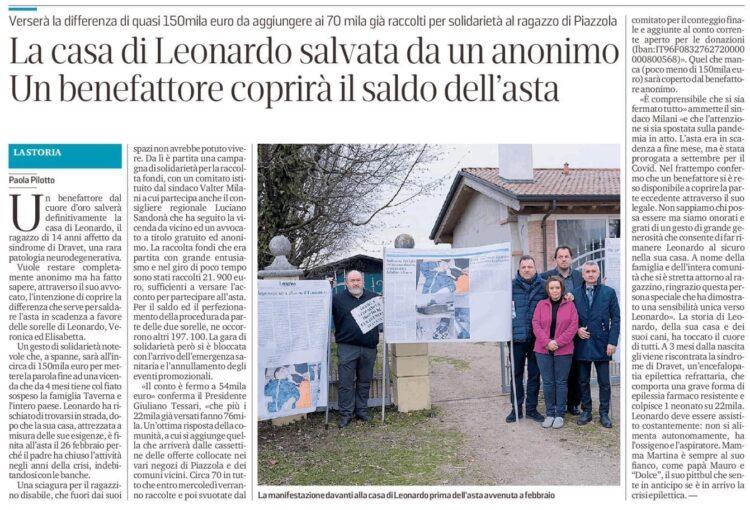 Benefattore anonimo di Padova salva la casa di Leonardo