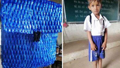 Photo of L'insegnante condivide le foto dello zaino di un alunno realizzato dal padre per risparmiare denaro