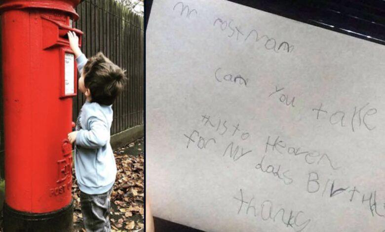 Un bambino manda una lettera a suo padre in paradiso