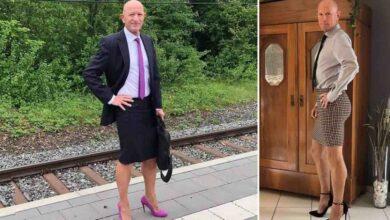 Photo of Un uomo sposato, padre di 3 figli, indossa gonne e scarpe con i tacchi per andare al lavoro con l'intenzione di abbattere gli stereotipi di genere