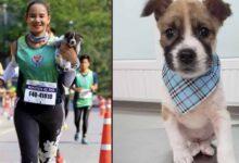 Photo of Una donna salva un cane randagio mentre partecipa ad una maratona e lo porta in braccio fino al traguardo