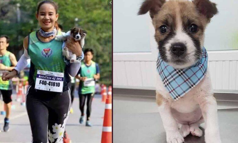donna salva un randagio maratona