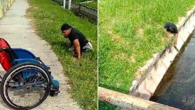 Photo of Un uomo disabile scende dalla sua sedia a rotelle per salvare un gattino che stava rischiando di annegare