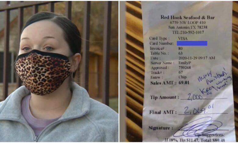Cameriera ottiene una mancia da 2.000$