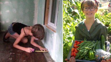 Photo of Una bambina di 9 anni coltiva centinaia di chili di cibo nel suo orto e costruisce piccole case per i senzatetto
