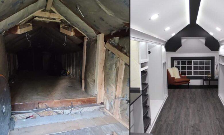Un uomo trasforma la soffitta inutilizzata