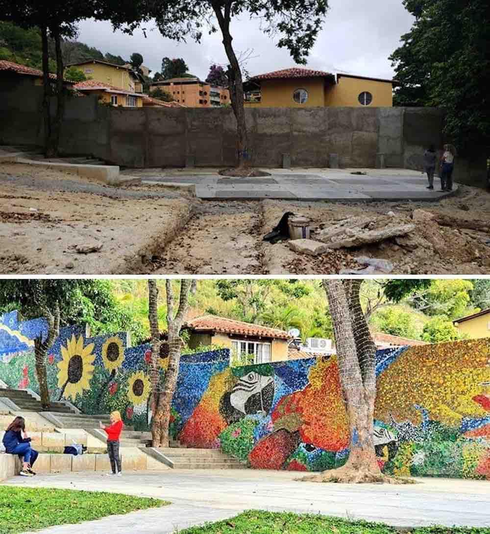 Un giovane artista crea un murale con 200.000 tappi plastica