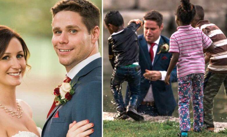 Durante il servizio fotografico delle sue nozze