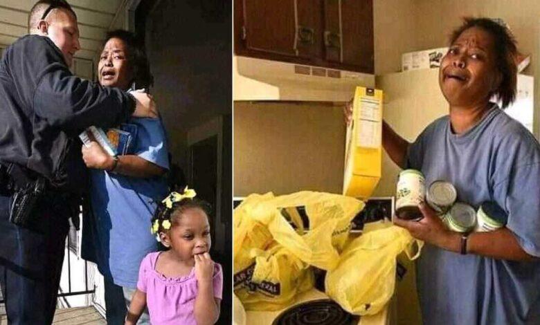 Una madre disperata viene sorpresa a rubare